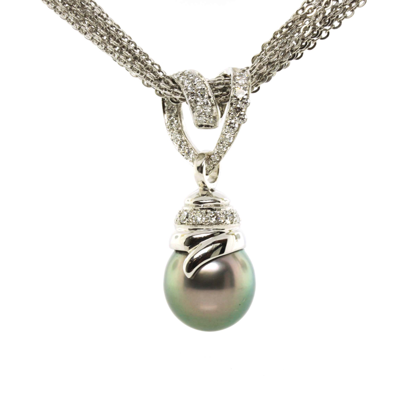 JEWELRY EXCHANGE CO. | SAN FRANCISCO: WHITE GOLD, BLACK TAHITIAN PEARL & DIAMOND PENDANT