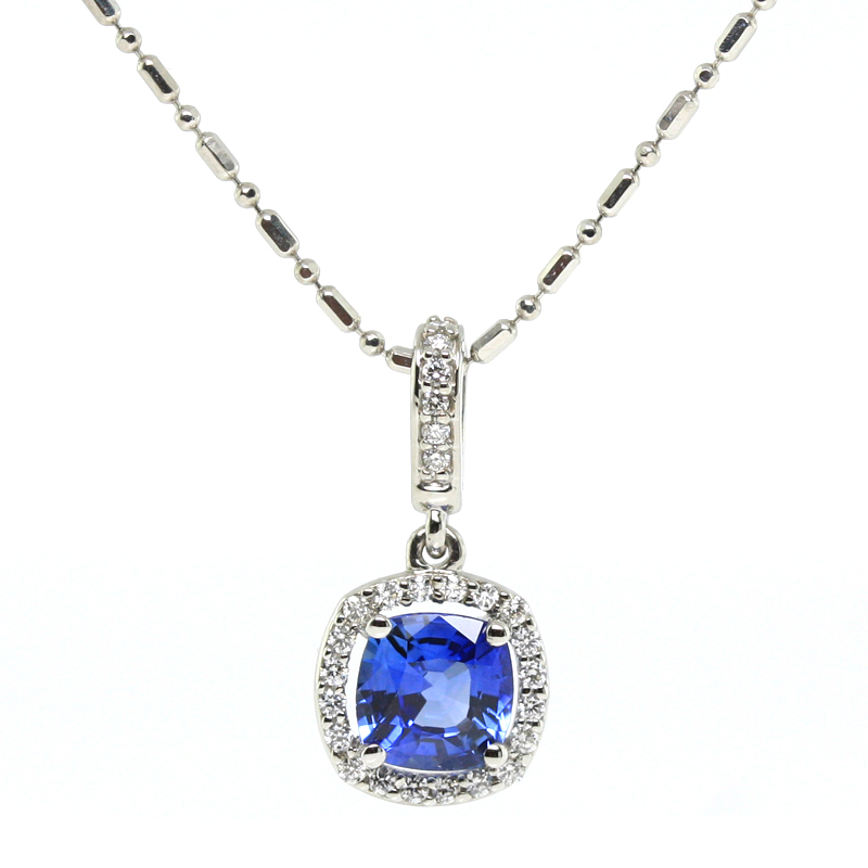 JEWELRY EXCHANGE CO. | SAN FRANCISCO: WHITE GOLD, SAPPHIRE & DIAMOND PENDANT