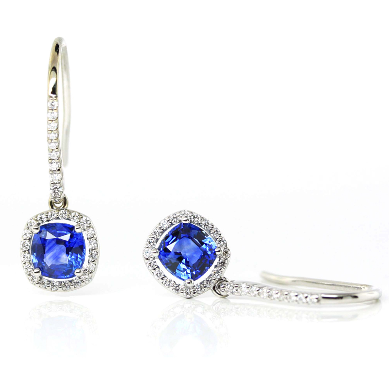 JEWELRY EXCHANGE CO. | SAN FRANCSICO: WHITE GOLD, BLUE SAPPHIRE & DIAMOND EARRINGS