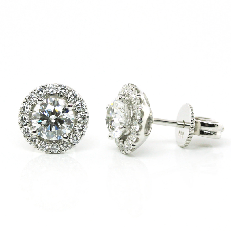 JEWELRY EXCHANGE CO. | SAN FRANCISCO: WHITE GOLD DIAMOND HALO EARRINGS