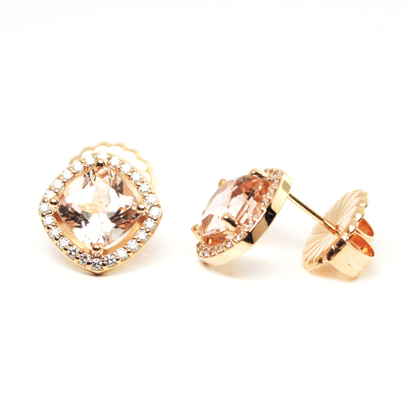 JEWELRY EXCHANGE CO. | ROSE GOLD, MORGANITE & DIAMOND EARRINGS