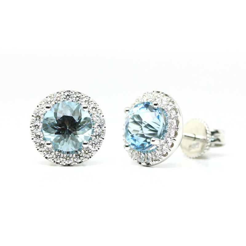 JEWELRY EXCHANGE CO. | SAN FRANCISCO: WHITE GOLD, AQUAMARINE & DIAMOND EARRINGS