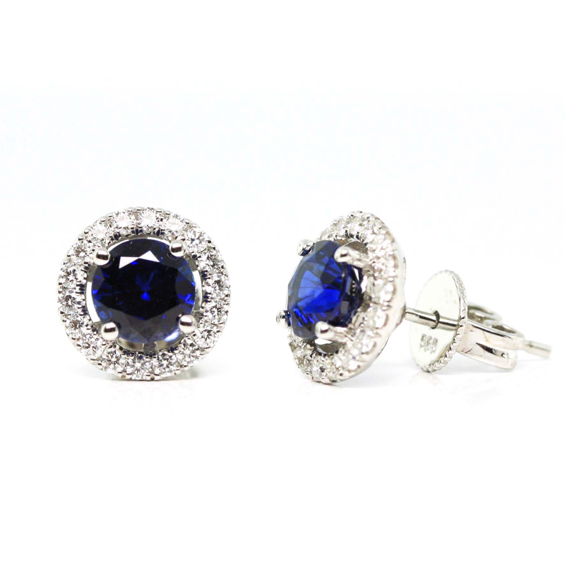 JEWELRY EXCHANGE CO. | SAN FRANCISCO: WHITE GOLD, BLUE SAPPHIRE & DIAMOND HALO EARRINGS