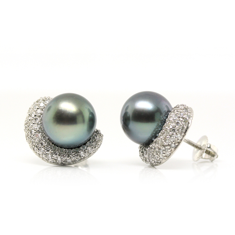 JEWELRY EXCHANGE CO. | SAN FRANCISCO: WHITE GOLD, BLACK TAHITIAN PEARL & DIAMOND EARRINGS