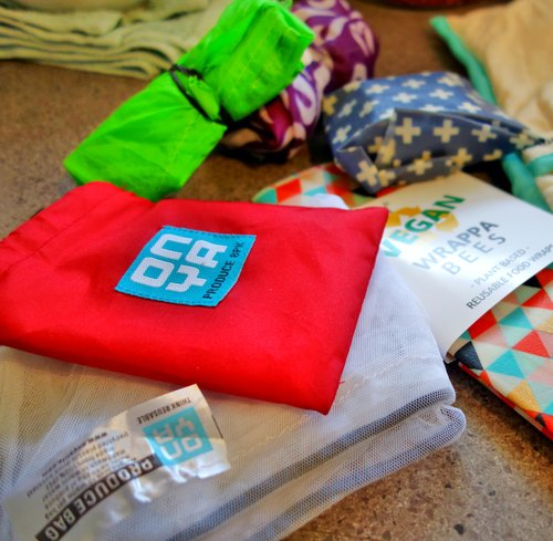 Reusable produce bags from 'Onya' - comes with a handy red stuff bag to keep them all in one place!