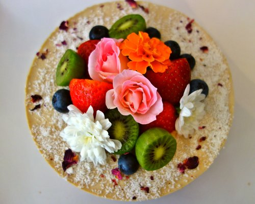 Gaia Sweets Mango Vegan Cheesecake With Flowers And Fruit