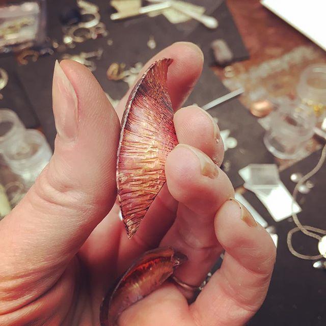 Getting some fun stuff ready for class tonight @capregionartscenter  Introduction to Jewelry  #foldforming #copper #organicshapes