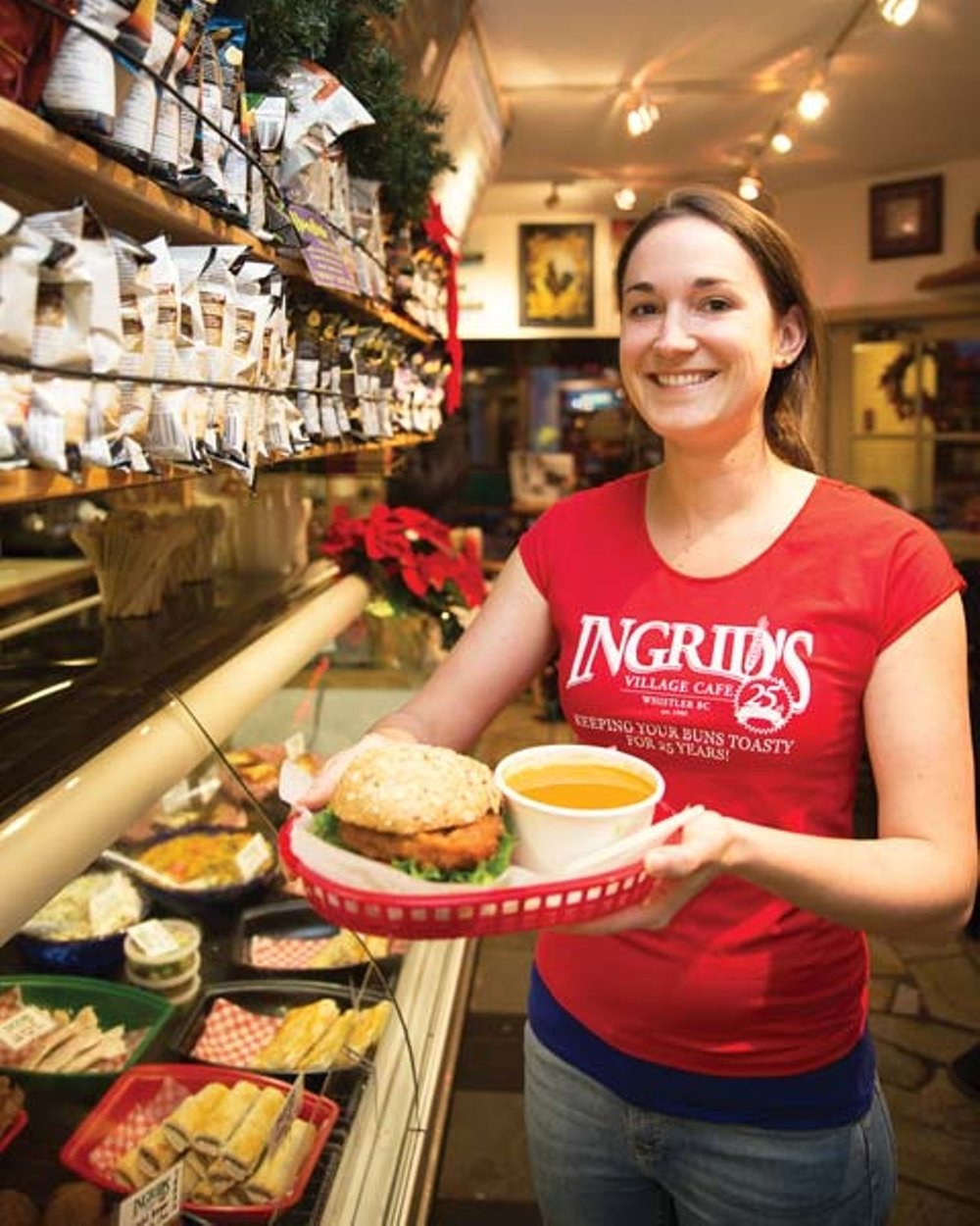 Ingrids - This vegetarian and vegan friendly café is locally owned and has been in Whistler for over 20 years. Ingrid's specializes in home style cooking. You can choose from meat or vegetarian burgers, soups, sandwiches and wraps for lunch. They also have a classic breakfast menu if you are looking for a hearty breakfast. They have homemade, organic muesli as well! Their menu is very diverse and all of their food is reasonably priced. We recommend: Garden Veggie BurgerLocation: 4305 Skiers Approach, Whistler, British Columbia V0N 1B4