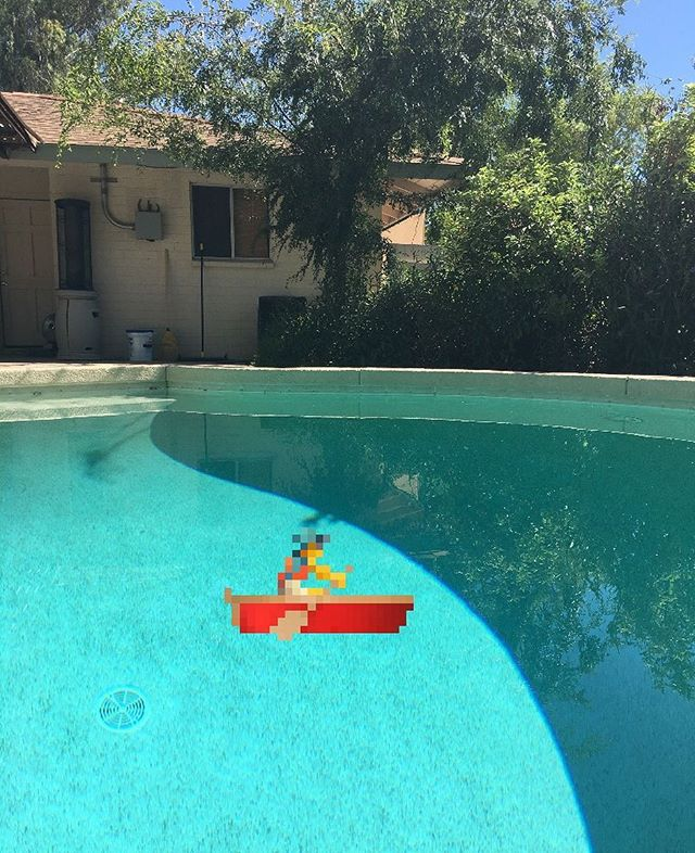 Pixel dude rowing in my pool.