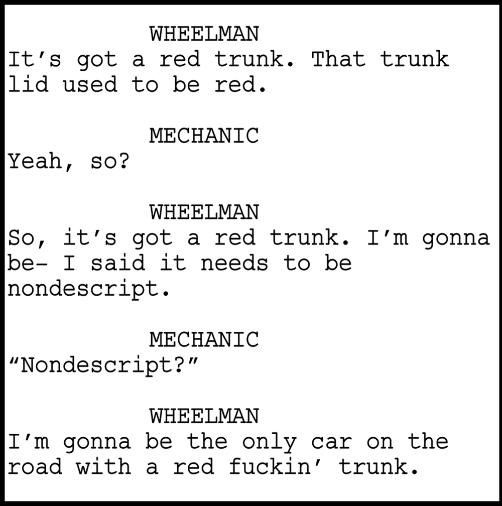 "Excerpt from Jeremy Rush's screenplay ""Wheelman"""