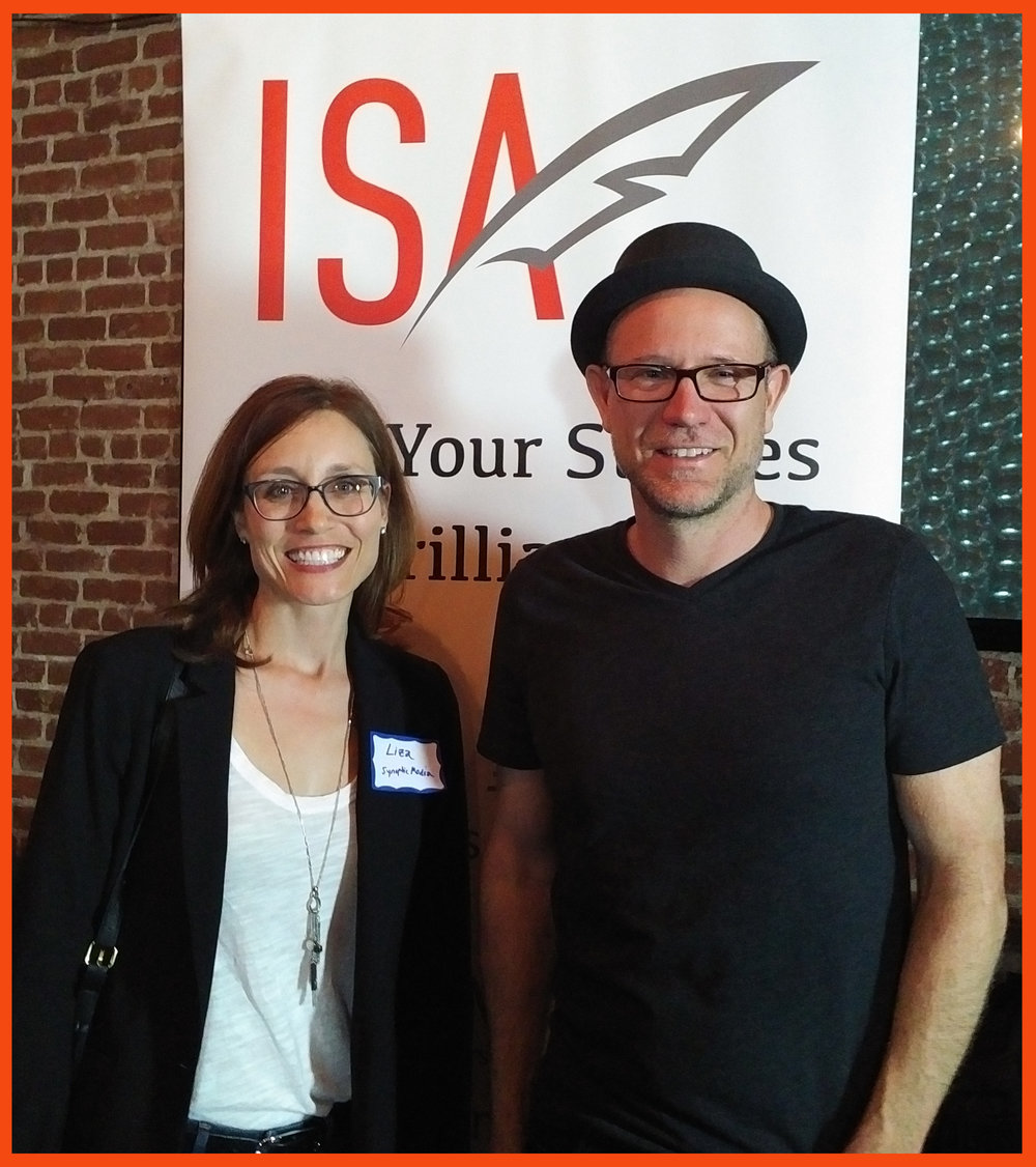 Synoptic Media's Liza Olson with ISA founder Craig James Pietrowiak at ISA's Third Thursdays event in Los Angeles