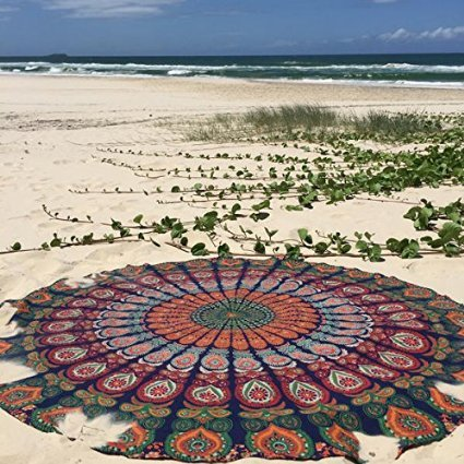 Labhanshi Indian Mandala Round Beach Towel