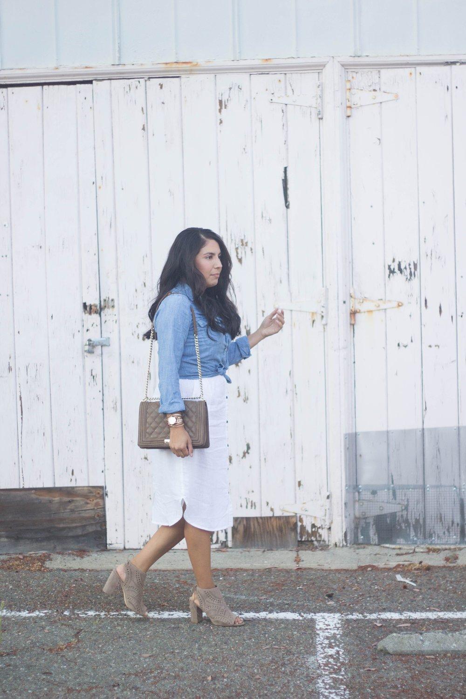 white dress and chambray shirt