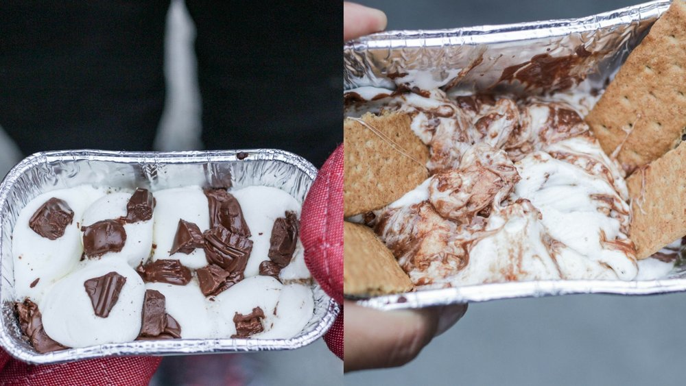 Smore's dip made easy. Small tin tray with marshmallows and chocolate melted over fire! Use crackers for dipping.