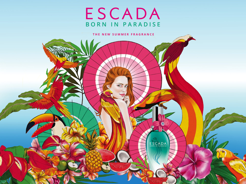 Kelly Thompson beauty illustration blog Escada Born in Paradise