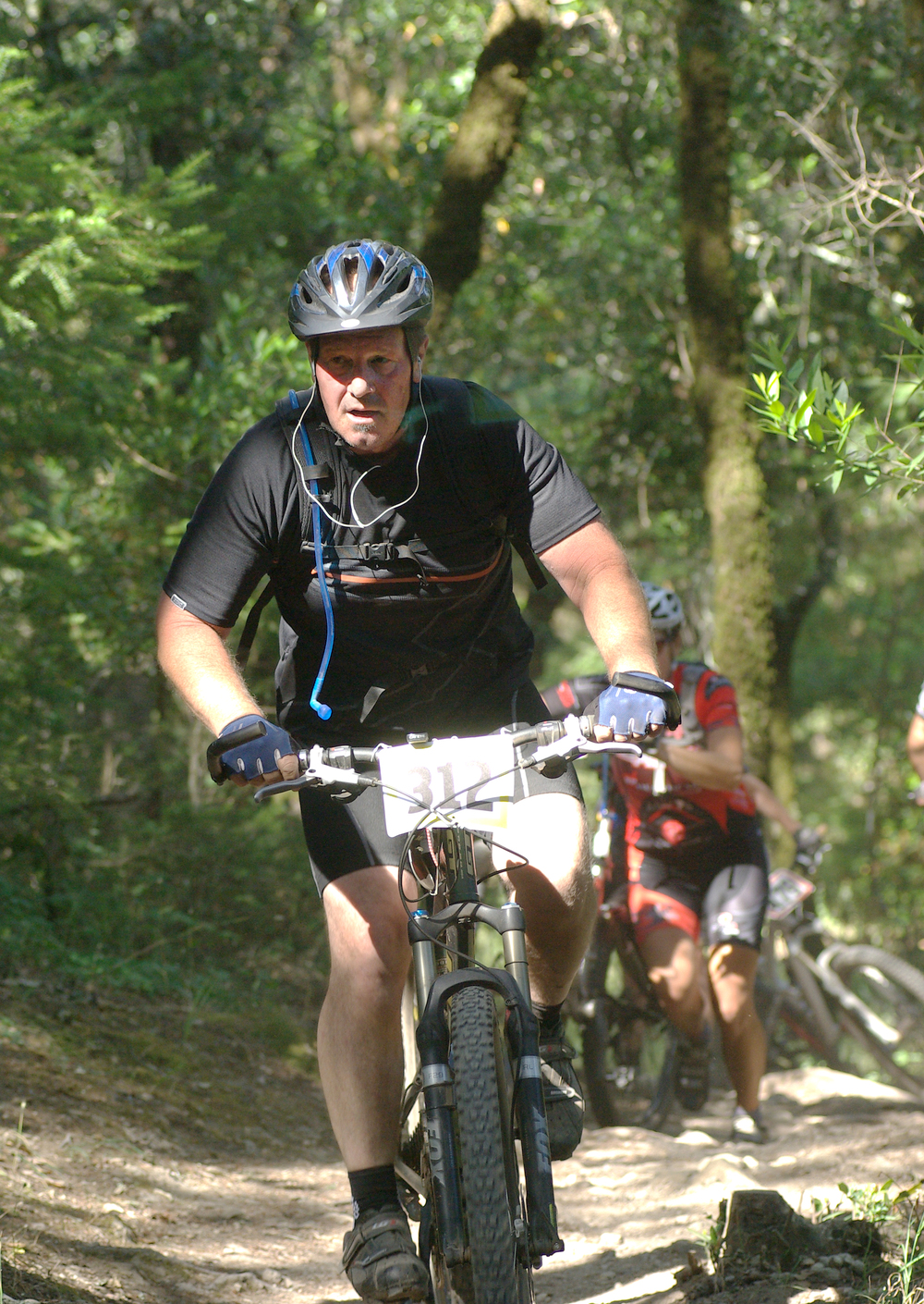 Larry Crabtree mountain biking at Annadel State Park.