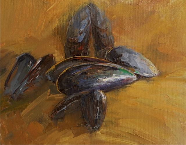 "white tea mussels 8""x10"""