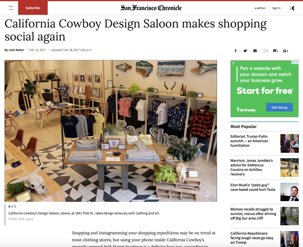 Feature in San Francisco Chronicle Style Section - California Cowboy's Design Saloon, above, at 1841 Polk St., takes design seriously with clothing and art.