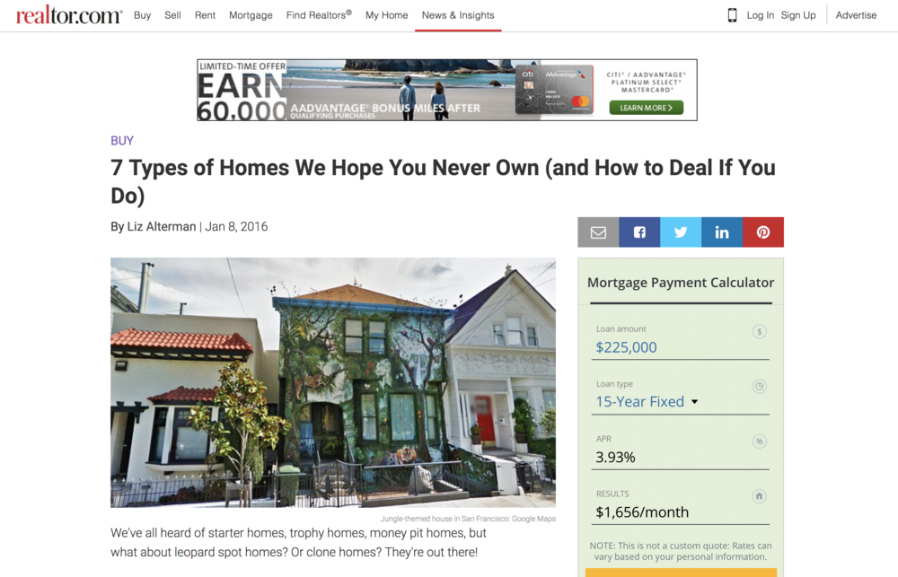Realtor.com Love - Some backhanded love from the realty fam. It's some clickbait gold.