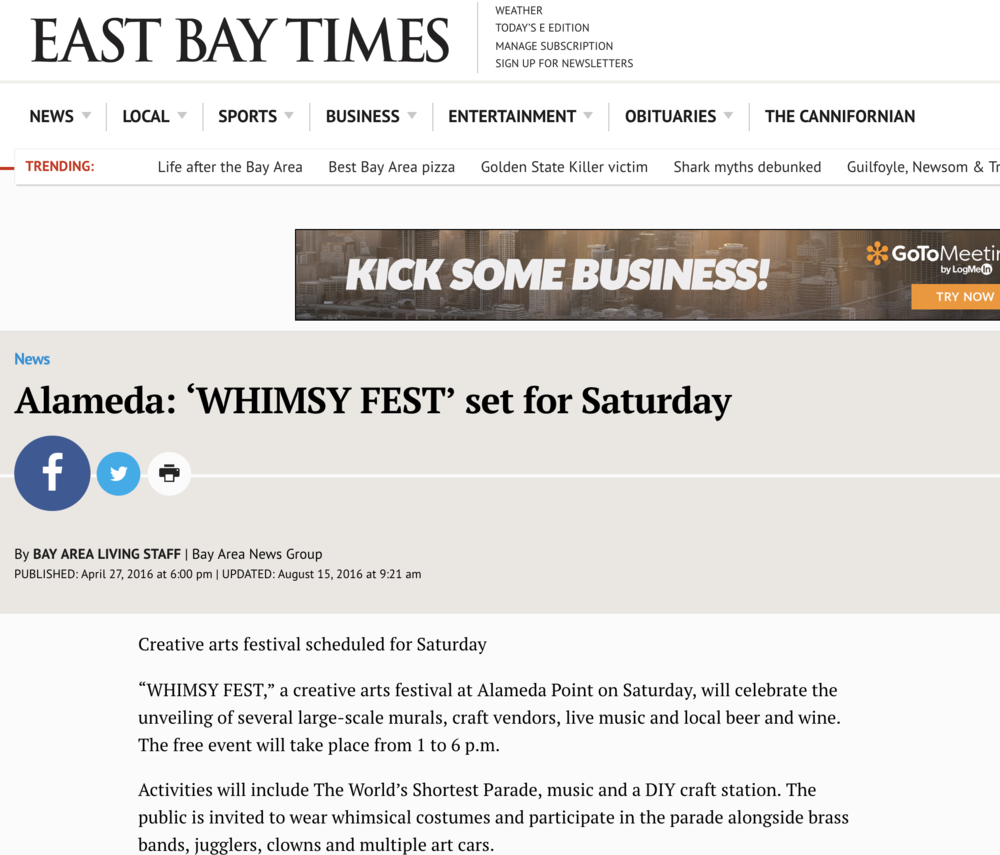 "Whimsy Fest Love - ""WHIMSY FEST,"" a creative arts festival at Alameda Point on Saturday, will celebrate the unveiling of several large-scale murals, craft vendors, live music and local beer and wine. The free event will take place from 1 to 6 p.m.Activities will include The World's Shortest Parade, music and a DIY craft station. The public is invited to wear whimsical costumes and participate in the parade alongside brass bands, jugglers, clowns and multiple art cars.Food and beverage purveyors will include Kenny's Heart and Soul, Fist of Flour, Gotta Love Kettle Corn, and Lucky 13 will be pouring local Alameda beer and wine."