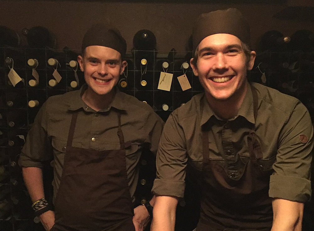 Head chef Simon and Sous Chef Mattias in their famous wine cellar