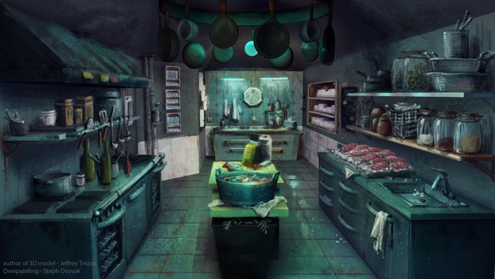 Kkitchen interior, 3D by Jeff Trezza, overpaint by Steph Dvoyak