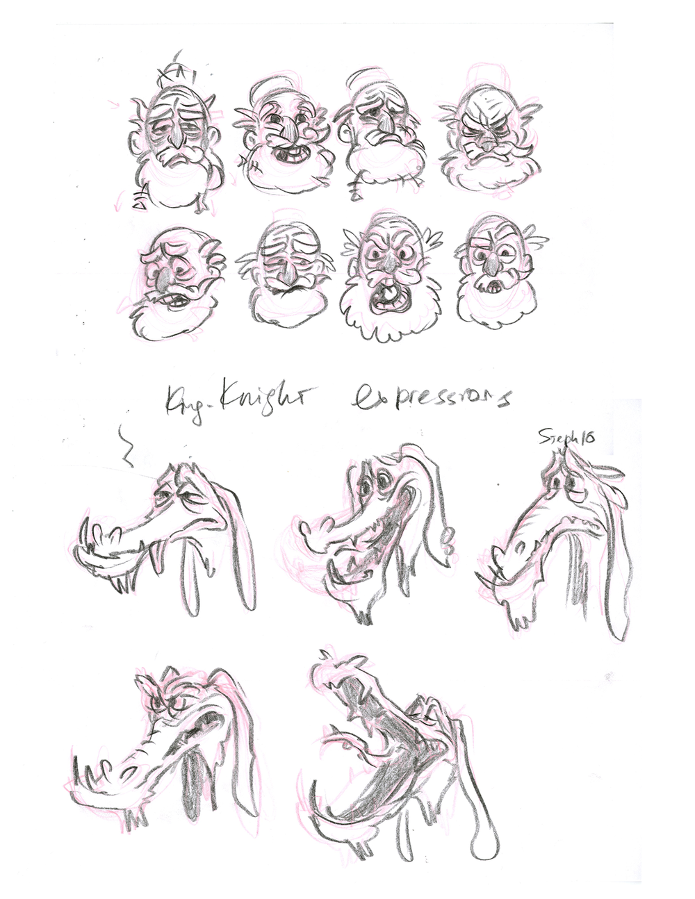 Knight and Dragon Exression sheets CharacterDesign_By_Steph_Dvoyak