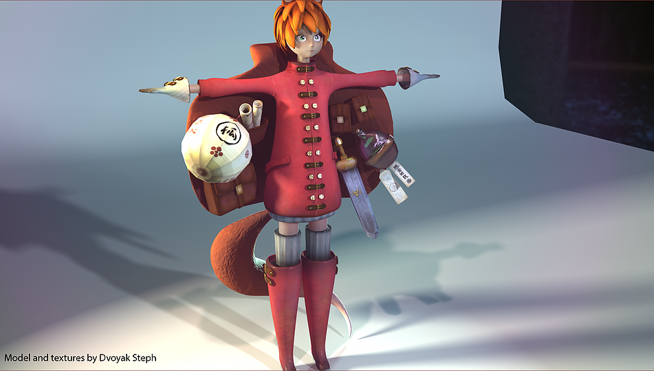 Foxgirl. Character 3D modeling and texturing