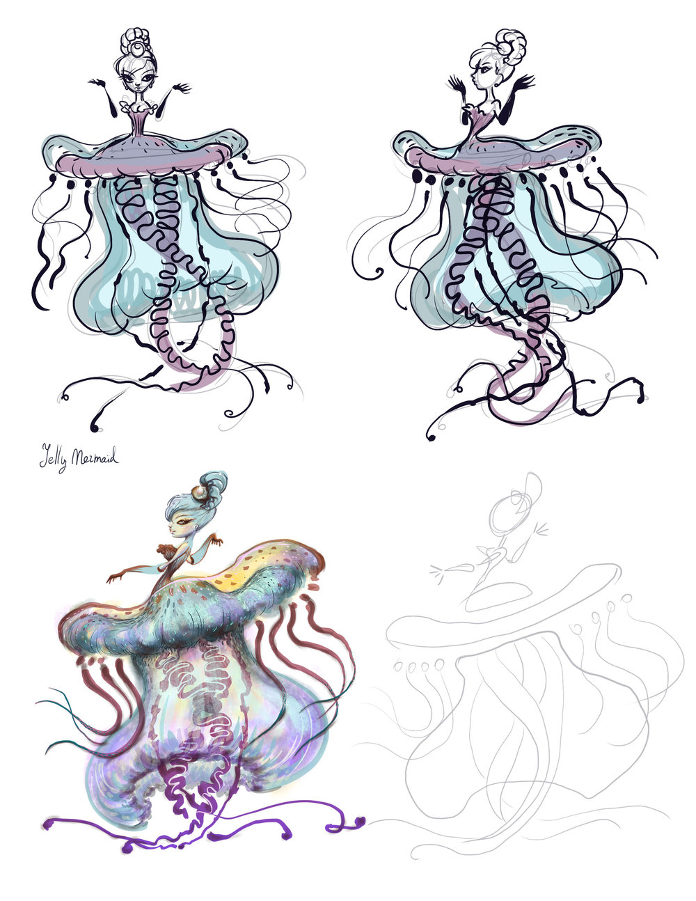 Sea Project. Jelly Mermaid turnaround.