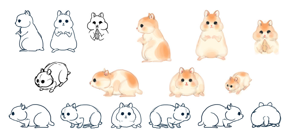 The Hamster Character Design for an animation film directed by Jahnvi Shah