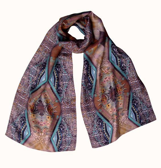 Marquetry silk scarf from the collection we designed for Venice Simplon Orient Express trains.