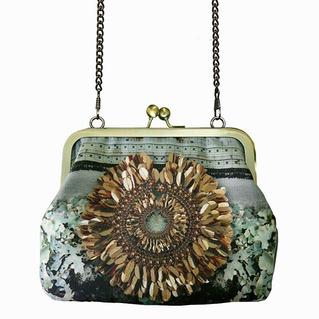 NY Sequin Lichen handbag. Digital print on silk with kiss clasp closure and antique brass chain. £59