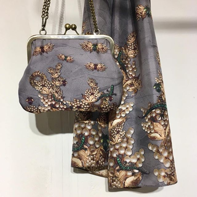 Our Grey Jewel silk scarf and handbag featuring Eclectica Vintage jewellery. £75 & £59. Available on our website.