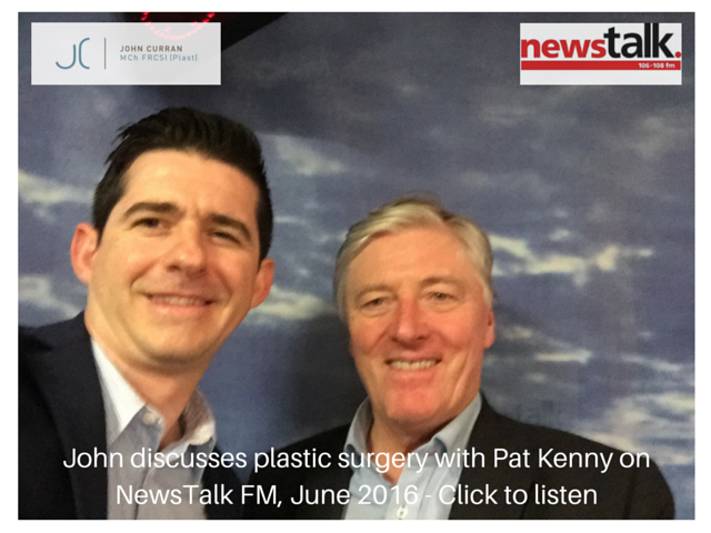 John discusses plastic surgery with Pat kenny on newstalk fm, June 2016 - click to listen