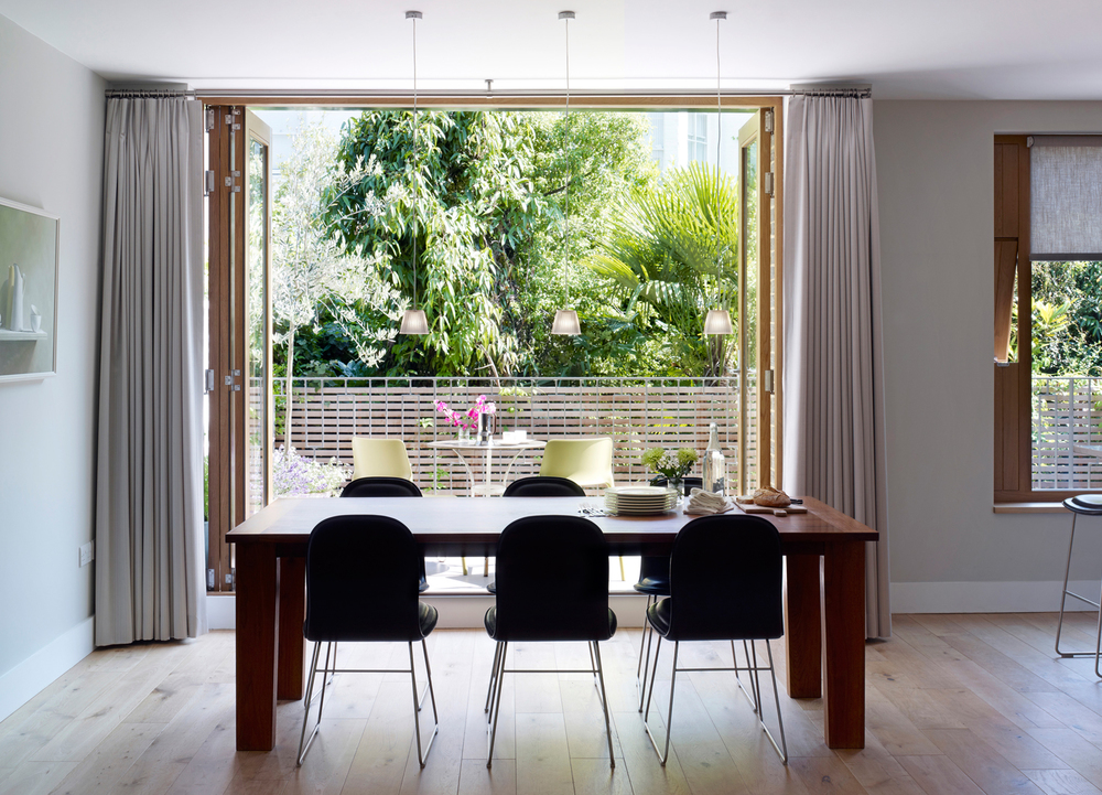 Jill Scholes Interior design, mews house dining area with view towards terace