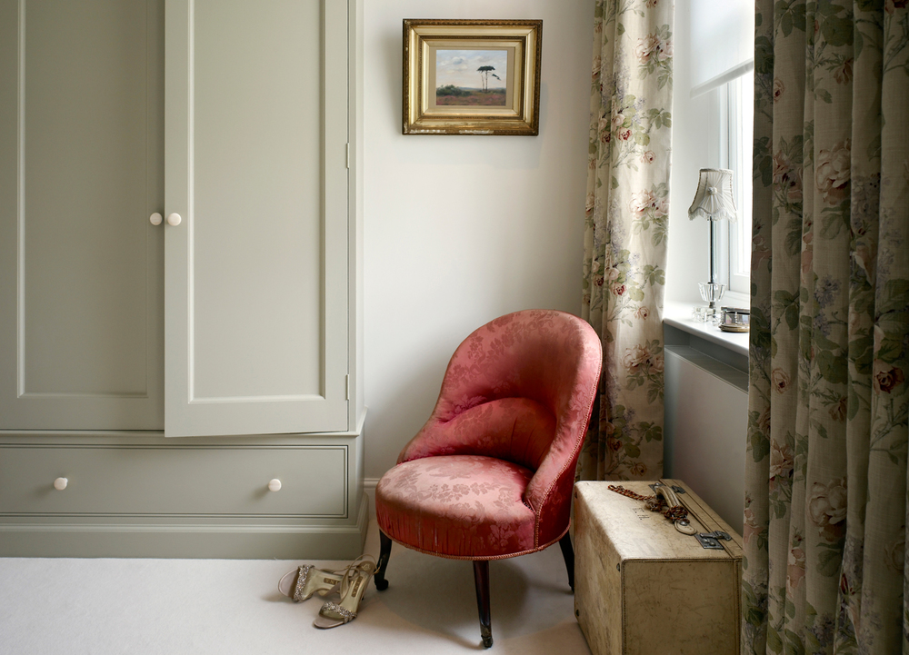 Jill Scholes Interior Design, Oxfordshire Country House, corner detail of traditional bedroom with day-chair and custom wardrobe