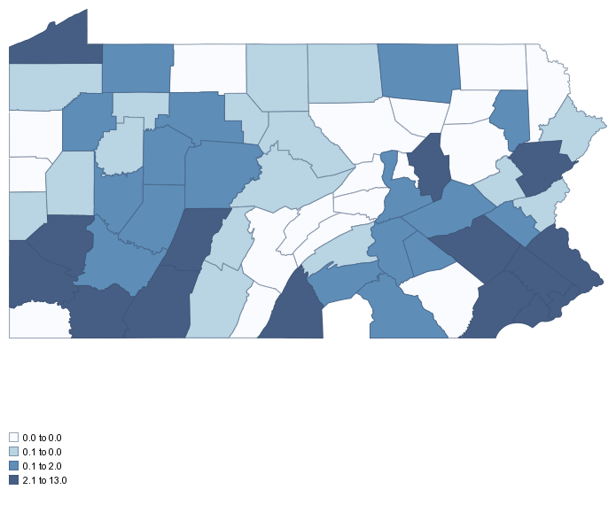 Pennsylvania COAPS Representation by county