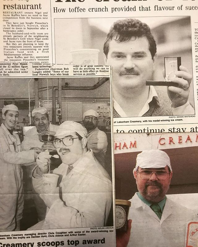 Some old newspaper articles dating back to 92' !!! 😱😱 #lakenhamcreamery #proudlynorfolk #proudlynorfolkfoodanddrink #aldous #norfolkcounty #1992 #newspaper #history #vintage #norwich #norfolk #happy