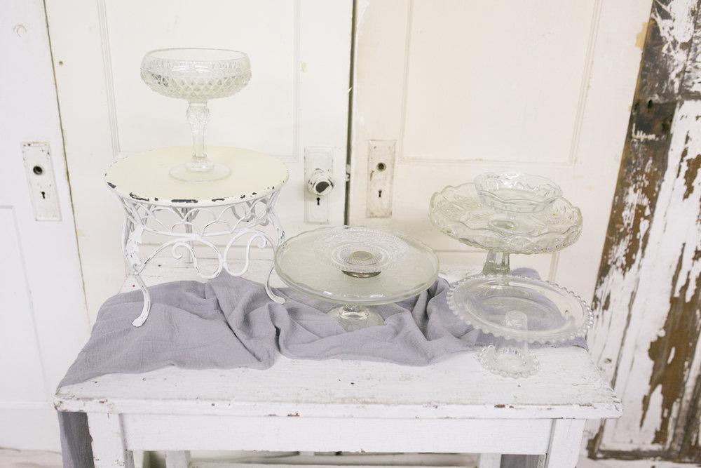Glass Cakestands~Rental $10-15 each