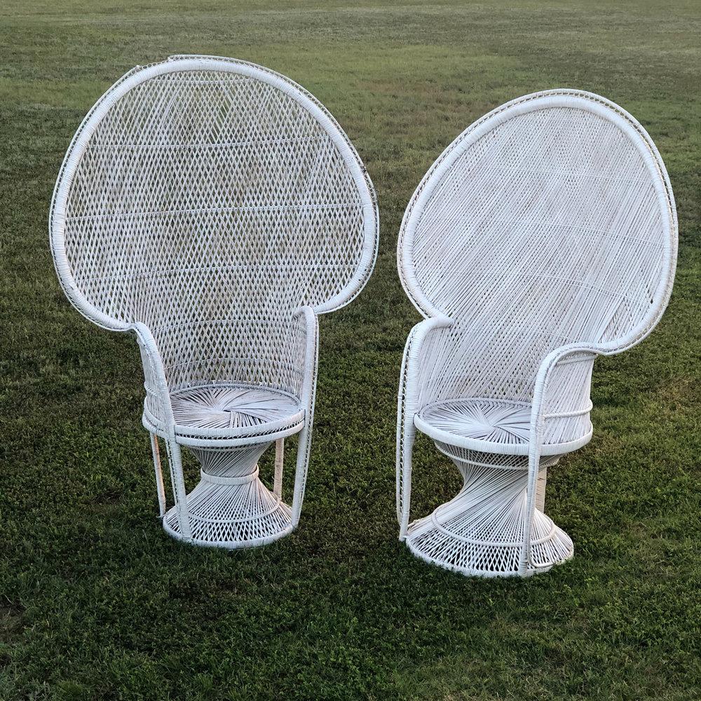 White Peacock Chairs~Rental $30 each