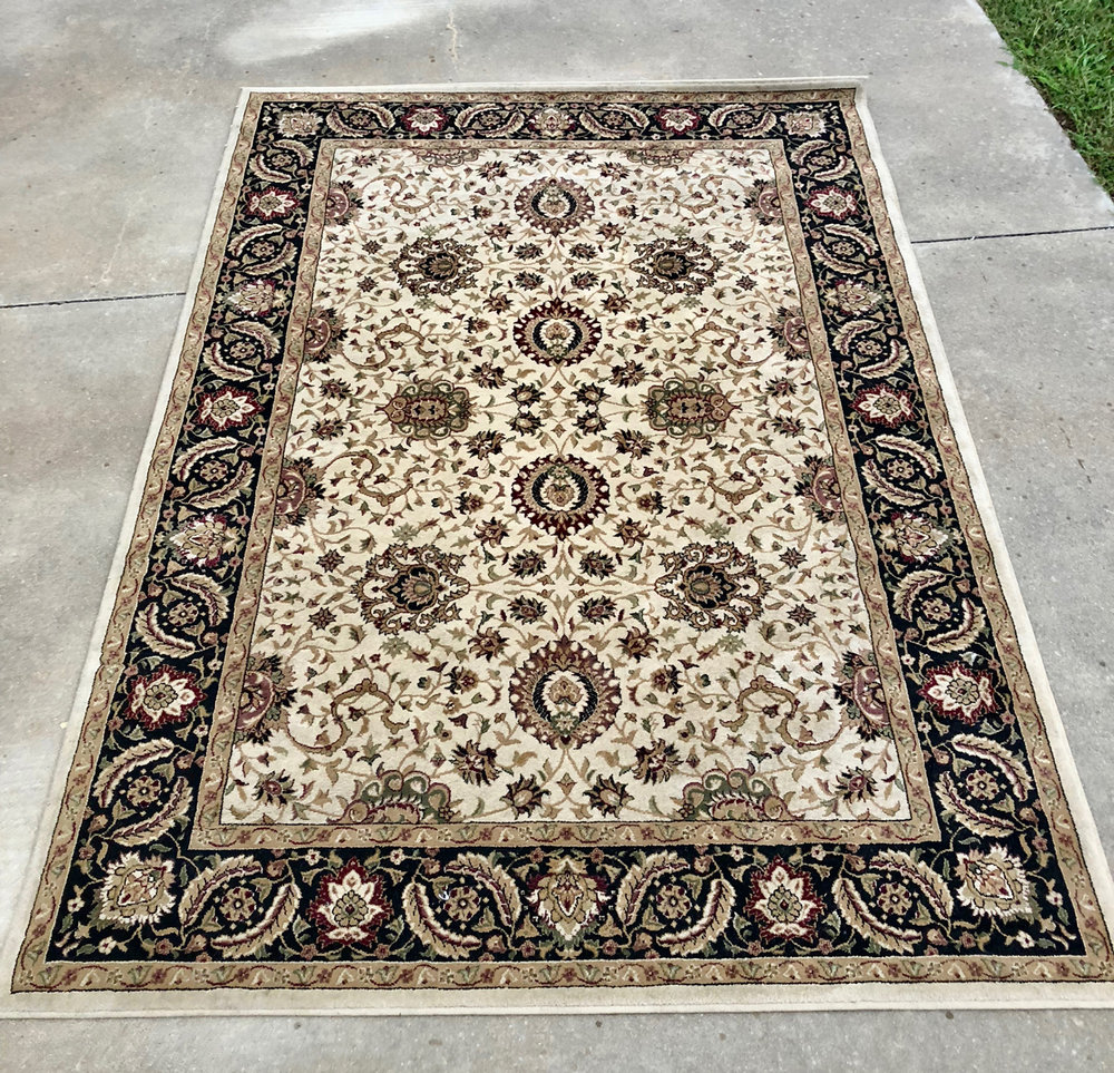 Cream & Black Rug~Rental $35