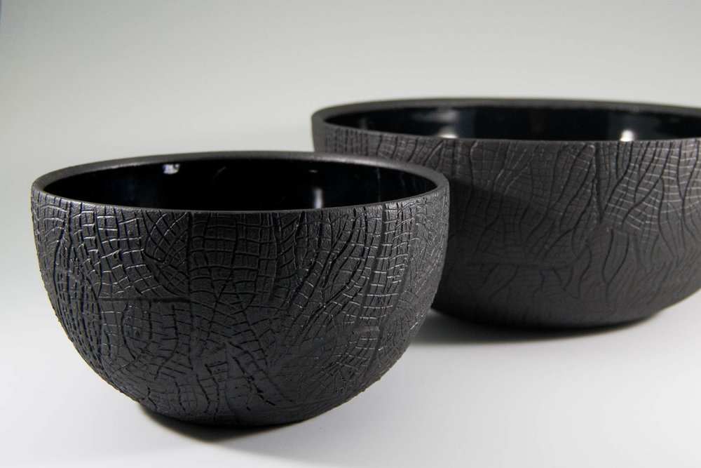 Burned Bark Charcoal Bowls