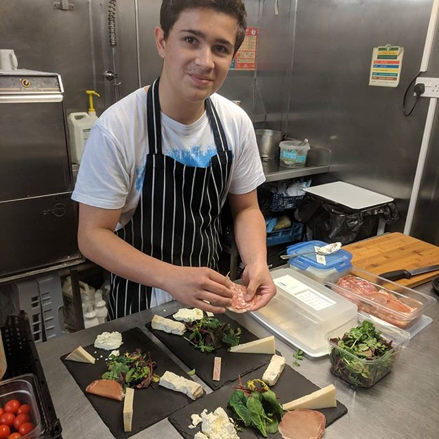 Alex the Antipasti Apprentice 😁 Doing a great job during lunch service today👍