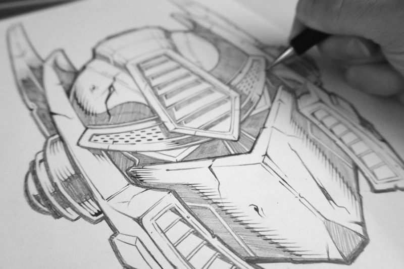 Optimus Prime Illustration pencil sketch