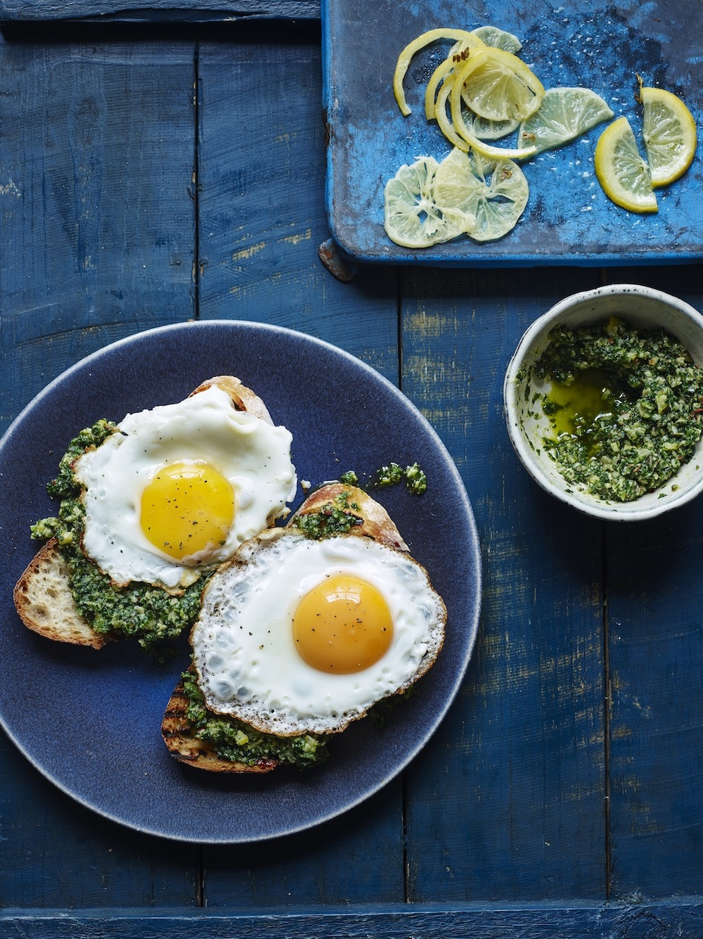 Cover - Fried eggs with preserved lemon pesto
