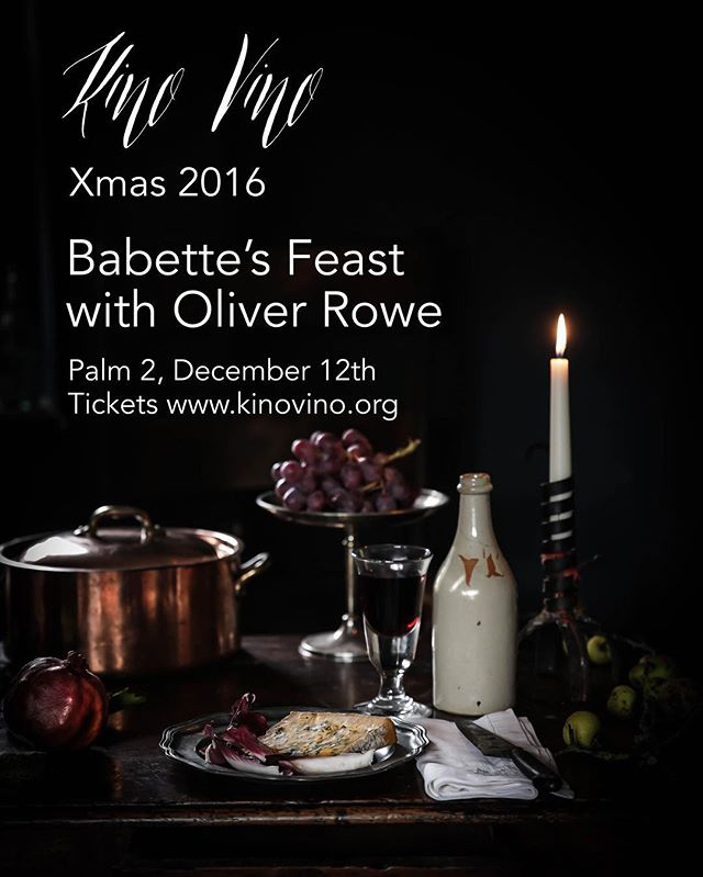 Second year in a row, the #kinovino Xmas meal will be Babette's feast with a 5 course meal based on the fantastic dinner she cooks at the end! Tickets and info at www.kinovino.org.