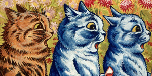 L0026168 Three cats singing. Gouache by Louis Wain, 1925/1939. Credit: Wellcome Library, London. Wellcome Images images@wellcome.ac.uk http://wellcomeimages.org Three cats singing. Gouache by Louis Wain, 1925/1939. Gouache By: Louis William WainPublished:  -  Copyrighted work available under Creative Commons by-nc 2.0 UK, see http://wellcomeimages.org/indexplus/page/Prices.html