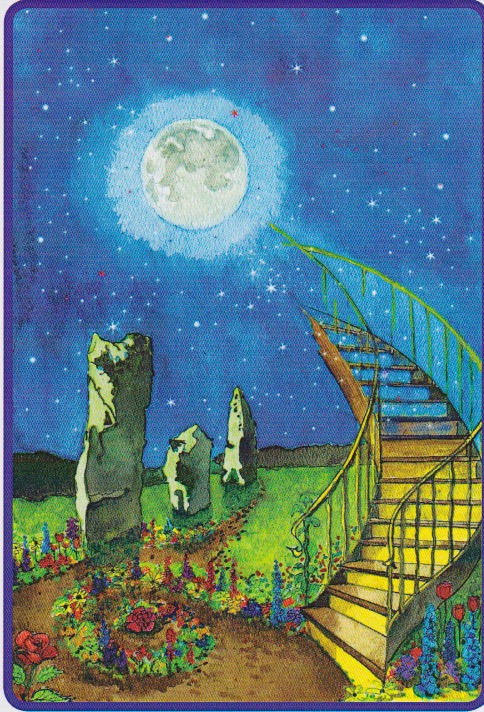 MOONSTAIRS. Copyright David Spangler and Jeremy Berg. From the  Card Deck of the Sidhe