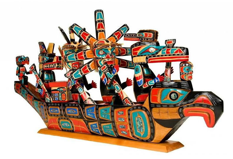 Artistic carving of a North Coast ceremonial canoe by Jimmy joseph kwakwakawak