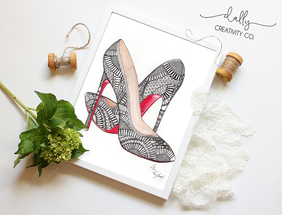 Louboutin Kristali Pumps Illustration by Dally Creativity Co. Artist Marissa MacLeod